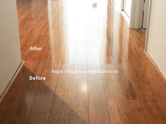 sàn gỗ sau vệ sinh